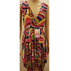 Deep V-neck, Abstract Striped Pink Yellow Dress